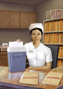 Nurse_using_paper_shredder_on_confidential_records